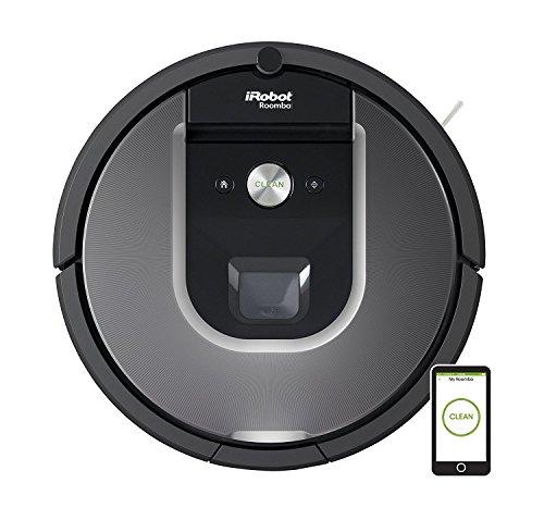 iRobot Roomba 960 - Robot aspirador, sistema de limpieza potente, sensores de suciedad Dirt Detect, aspira alfombras y suelos en varias habitaciones, atrapa pelo de mascotas, conexión WiFi, plateado
