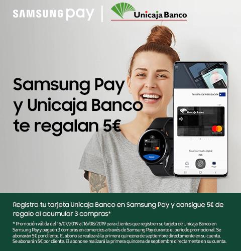 5 euros de regalo por 3 compras con Samsung Pay (Unicaja)
