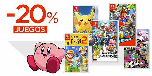 20% de descuento en juegos y accesorios Nintendo para Switch