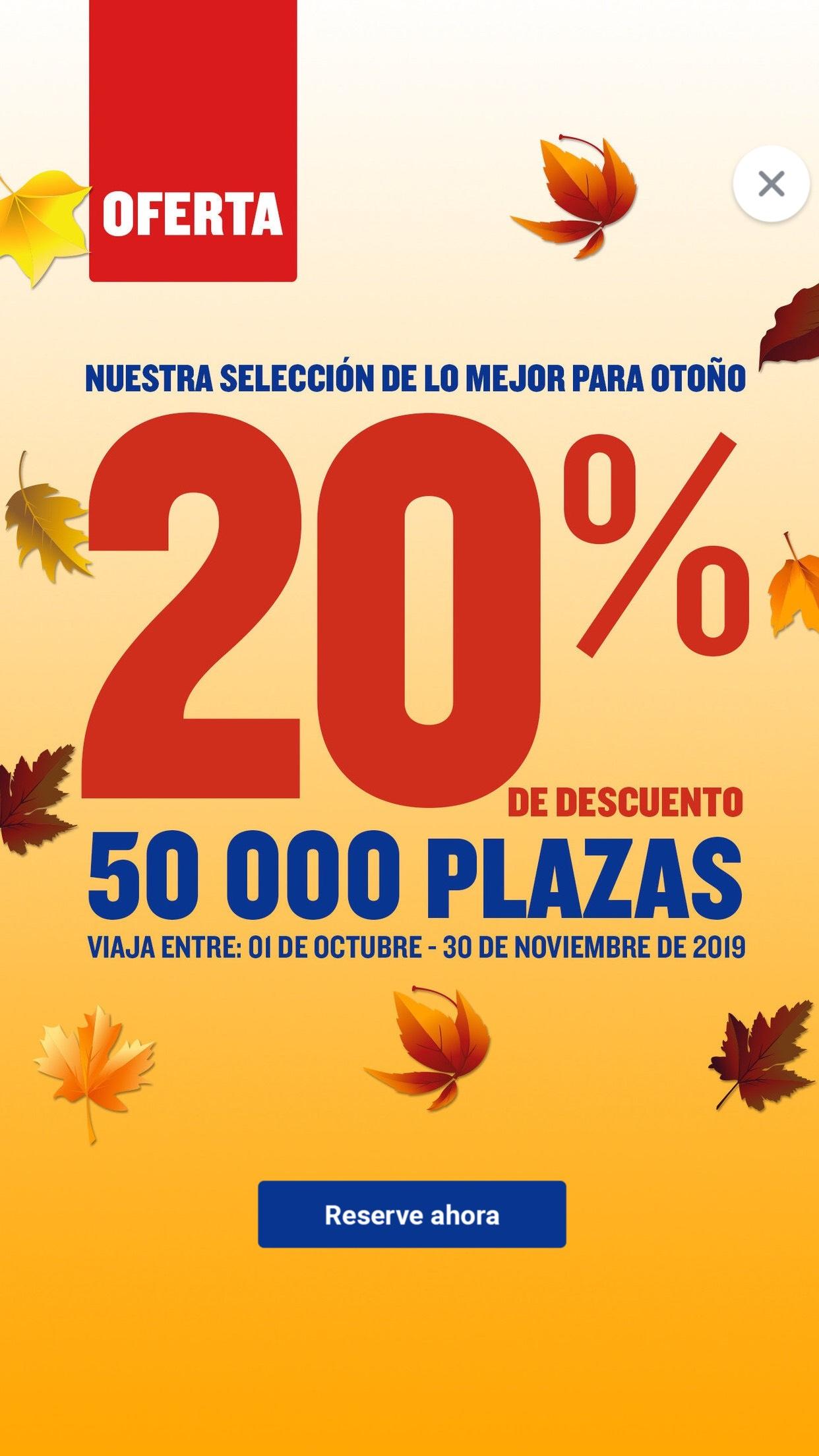 Ryanair: 20 % de descuento en 50 000 plazas