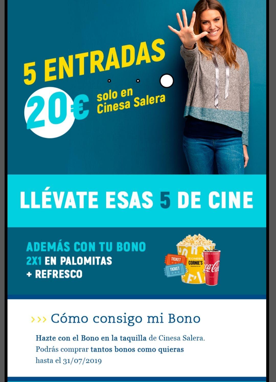 Bono de 5 entradas en Cinesa La Salera por 20€ (Castellón de la plana)