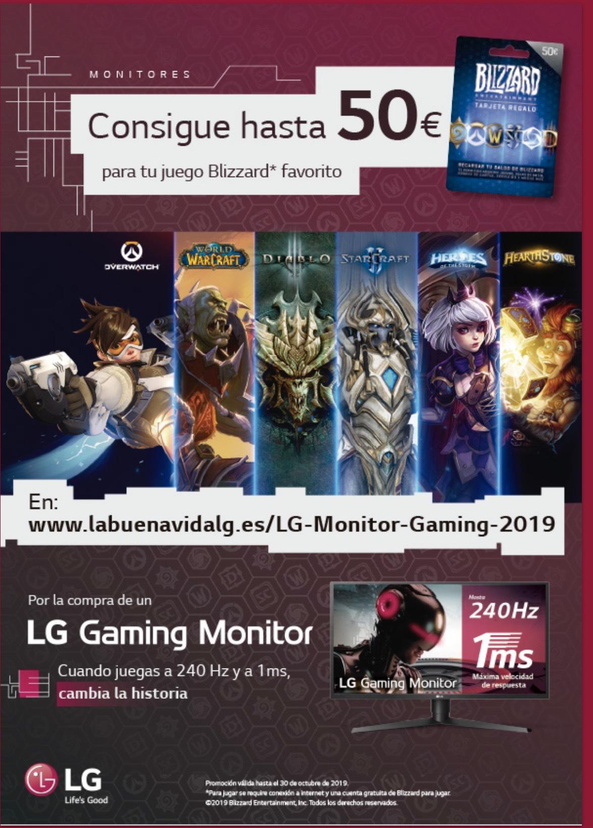 Tarjeta Blizzard de hasta 50€ por compra monitor gaming LG