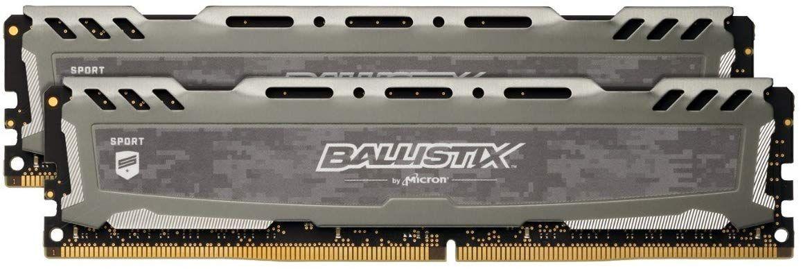 Ballistix Sport LT BLS2K16G4D32AESB Kit de memoria RAM de 32GB (16GB x2), 3200 MT/s, PC4-25600, CL16, Dual Rank x8, DIMM, 288-Pin) Gris