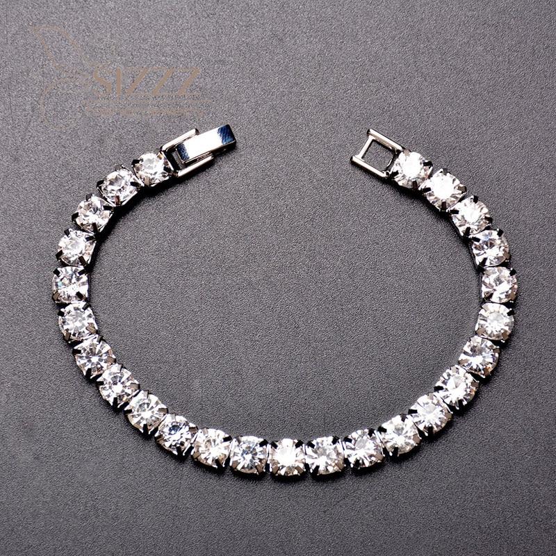 Pulsera fina de diamantes de imitación
