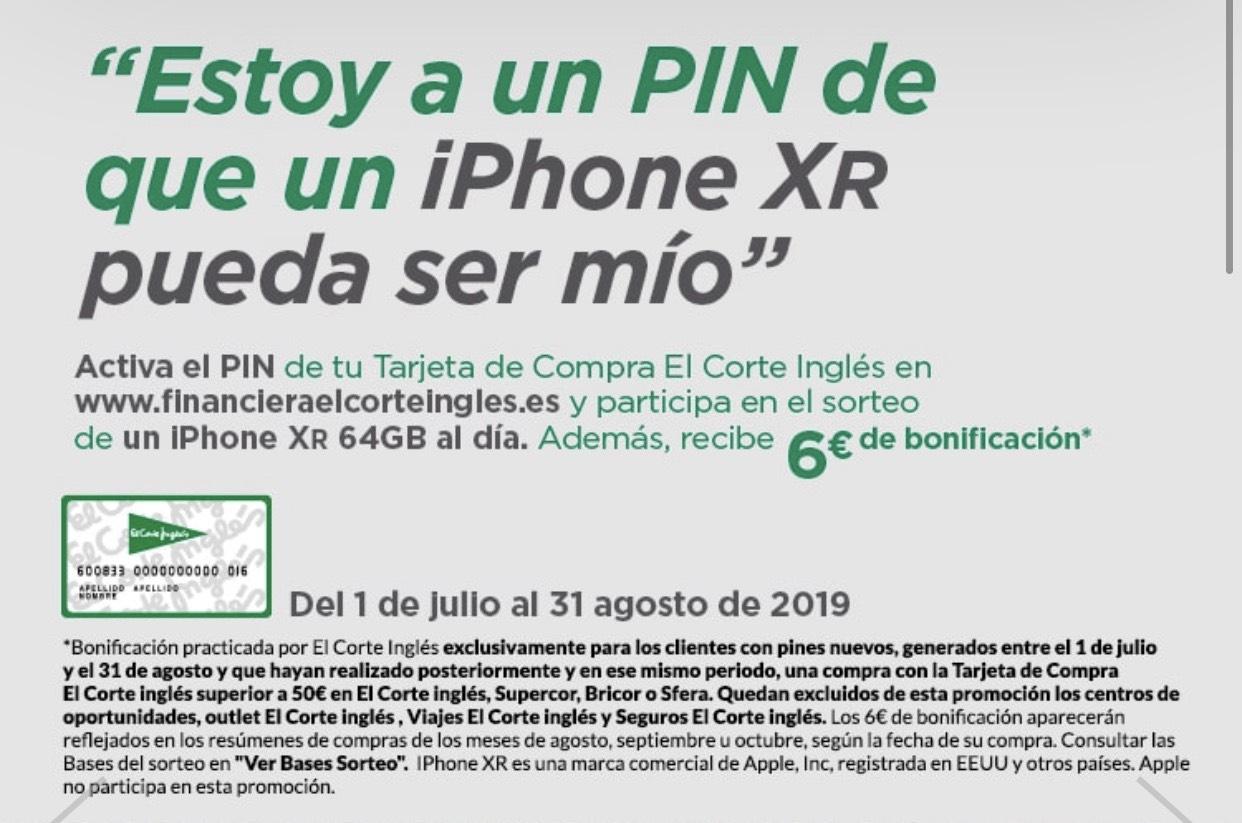 6€ bonificación por activar PIN Tarjeta Corte Inglés