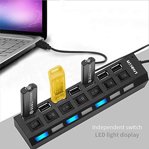 ¡Hub 7 puertos USB con Leds  e interruptores independientes sólo 5,99€! Prime
