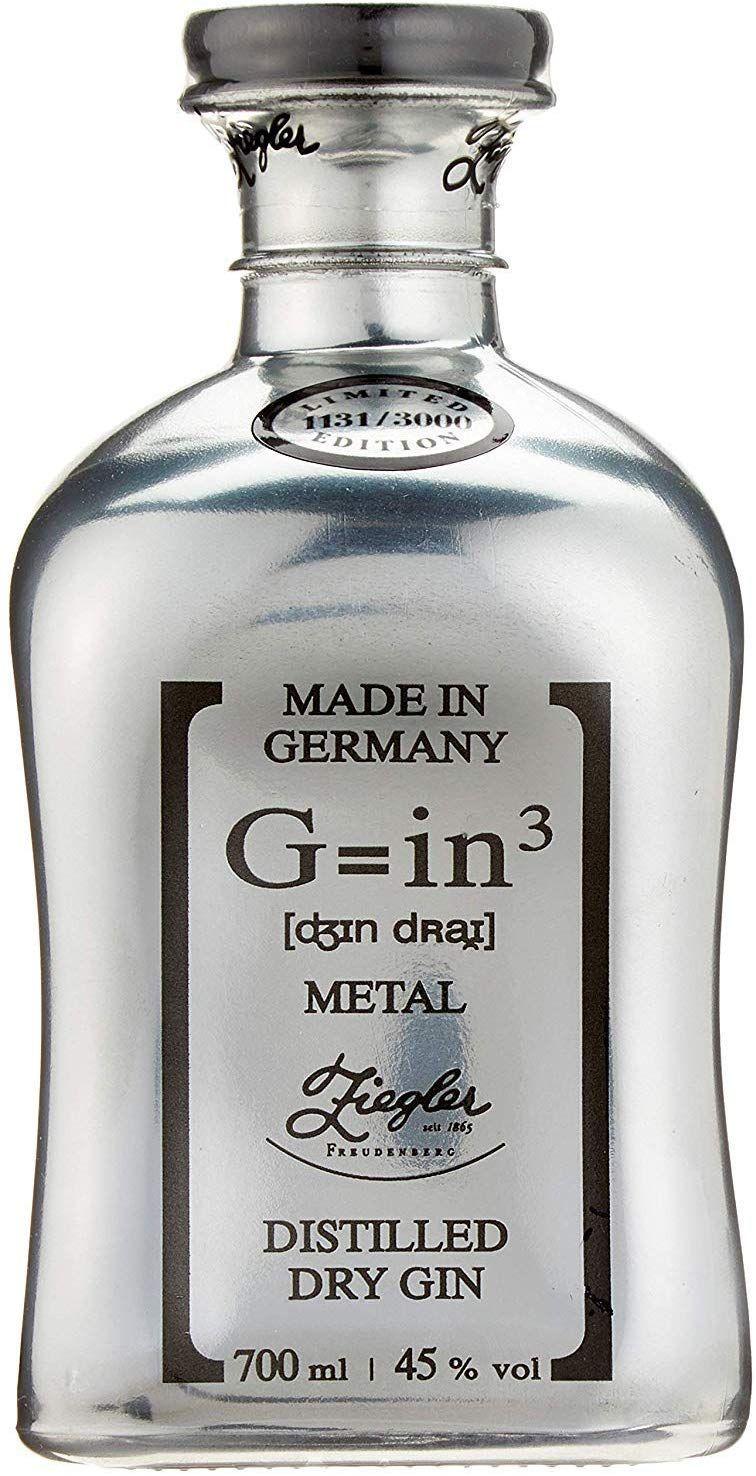 Ginebra Ziegler G=in³ Edición Limitada Botella Metal Dry - 700 ml