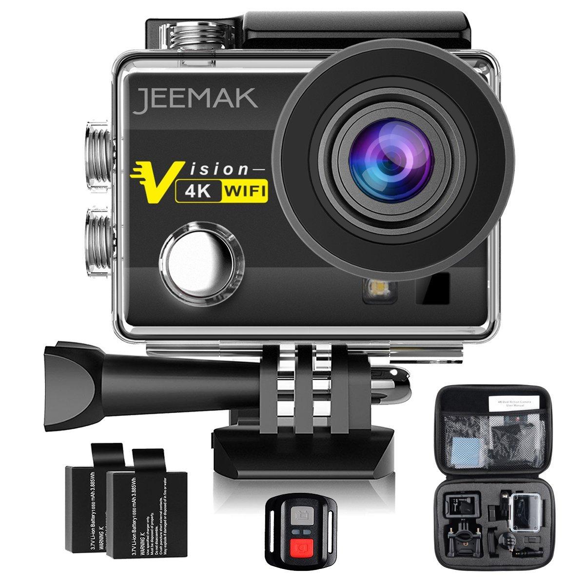 Cámara Deportiva JEEMAK 4K Impermeable 16MP Wifi Cámara de Acción con control remoto 2.4G