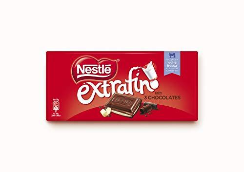 25 unidades de nestlé chocolate Extrafino de 3 chocolates de 120gr cada una
