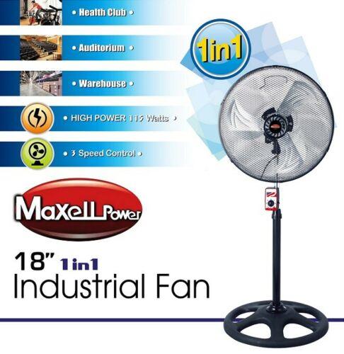Ventilador de pie industrial 115W, 3 velocidades de 18''.
