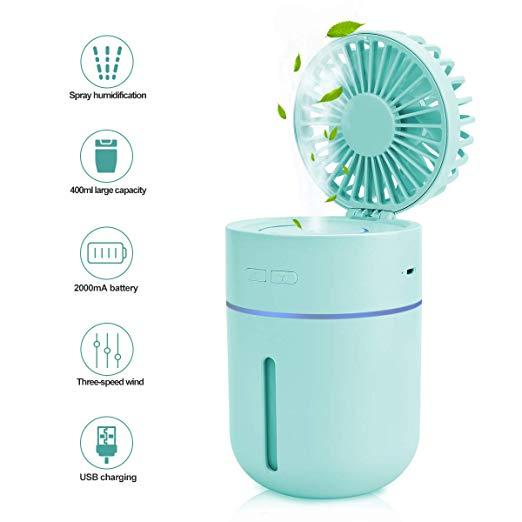 Ventilador humidificador 2 en 1, ventilador de mesa personal 13,45 euro!
