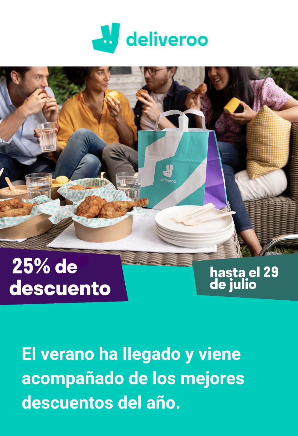 25% de descuento en varios restaurantes [Deliveroo]