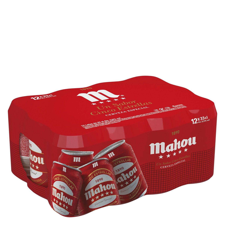 2 pack de cervezas Mahou 5 Estrellas 12x33 cl., a 6€ el pack (comprando dos)