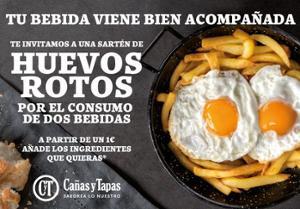 Ración de huevos rotos gratis en Cañas y Tapas (Madrid)