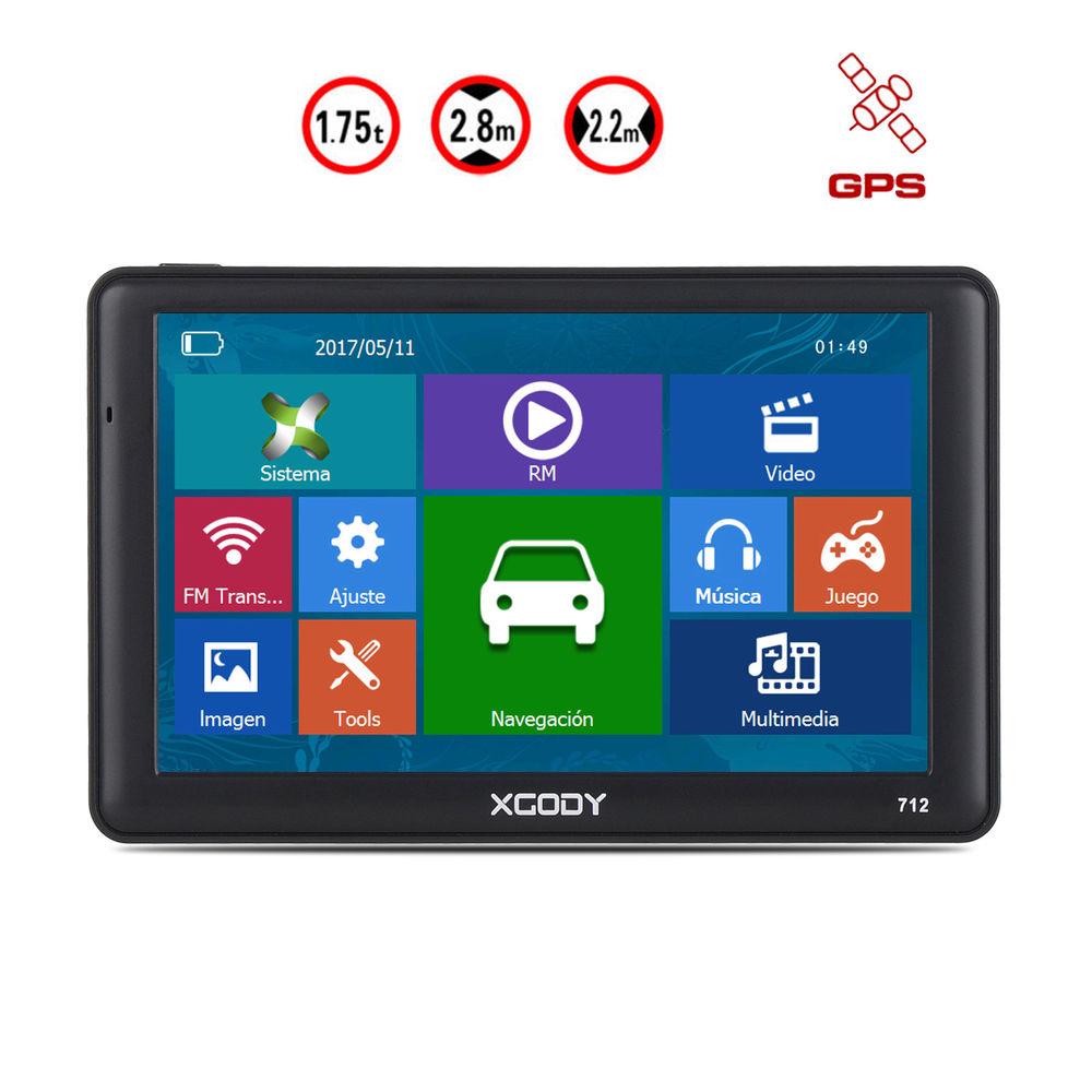 """GPS XGODY 7"""" HD con mapas preinstalados de Europa"""