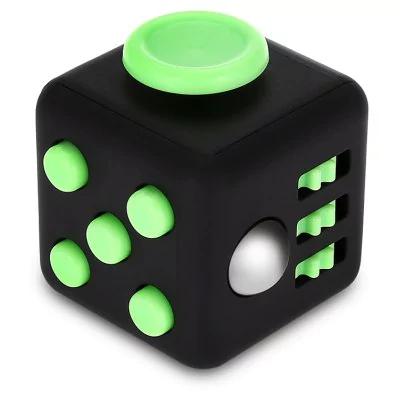 Fidget Cube (Cubo anti estrés) ABS - Negro y verde