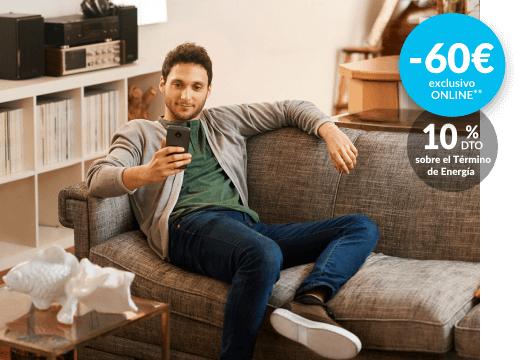 PLAN ELIGE 8 HORAS -60€ exclusivo online + 10% descuento sobre el termino de energia.