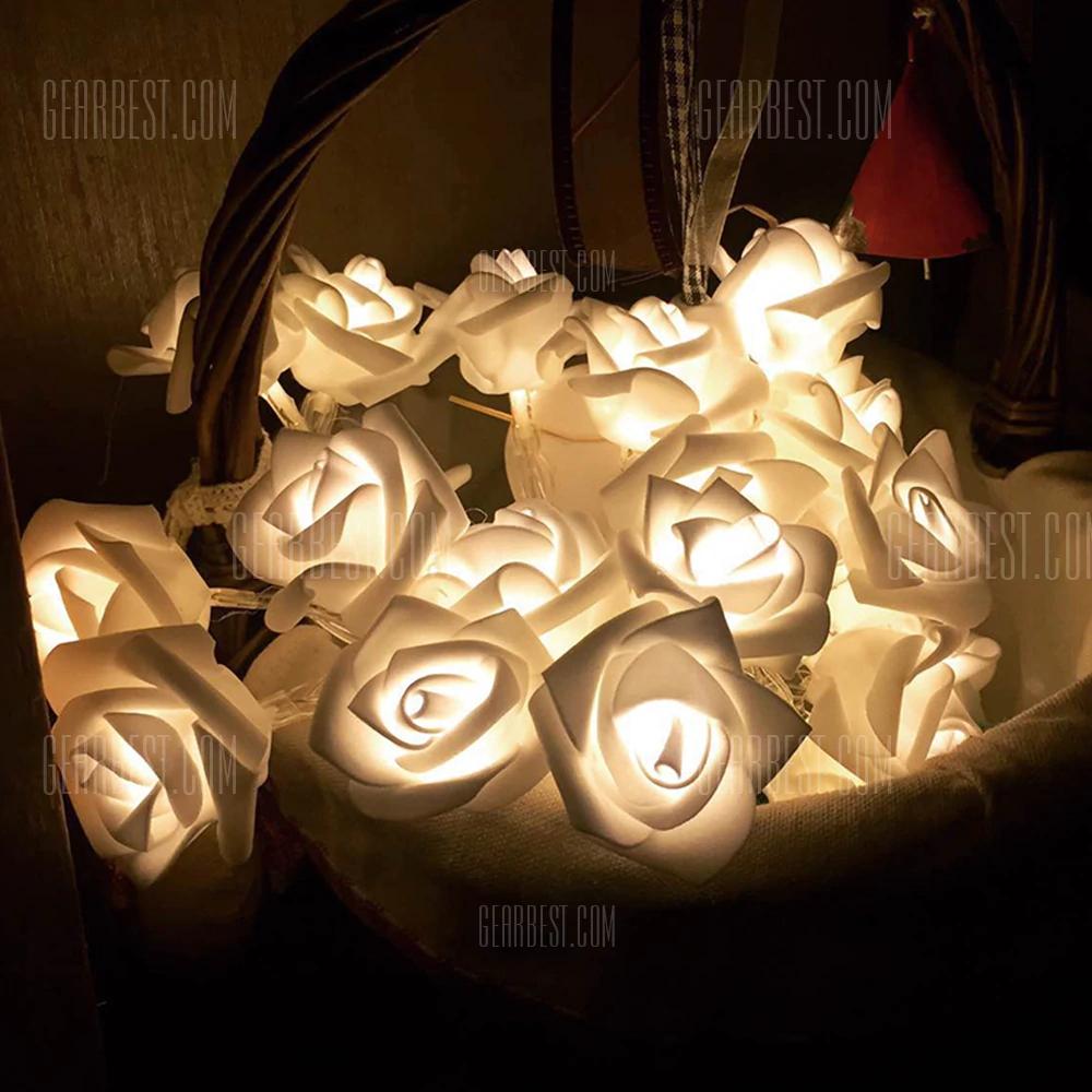 Tira de 10 LED y 1,2 metros con forma de Rosas (blanco cálido)