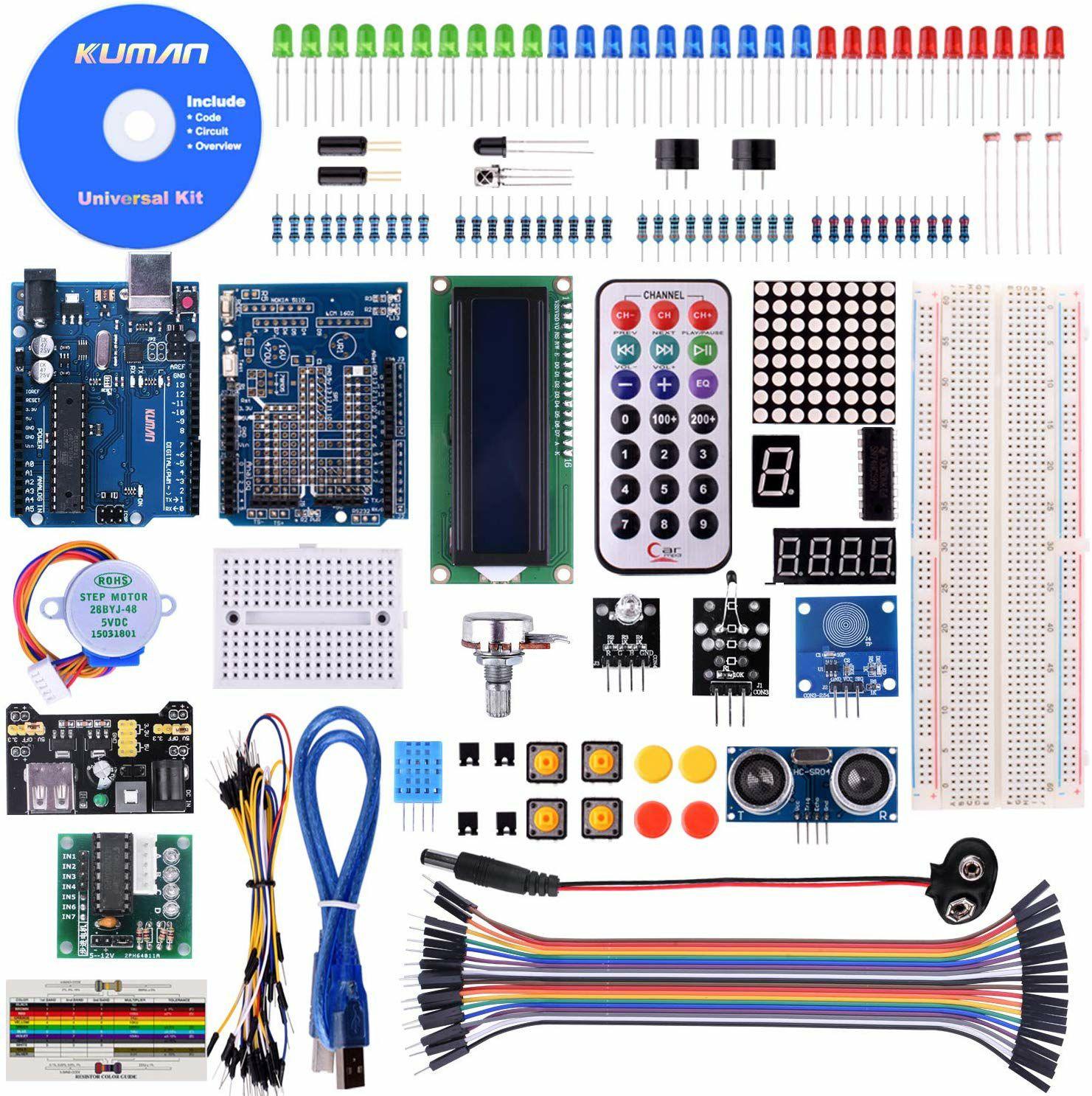Kit súper completo Arduino Avanzado Kuman desde Amazon