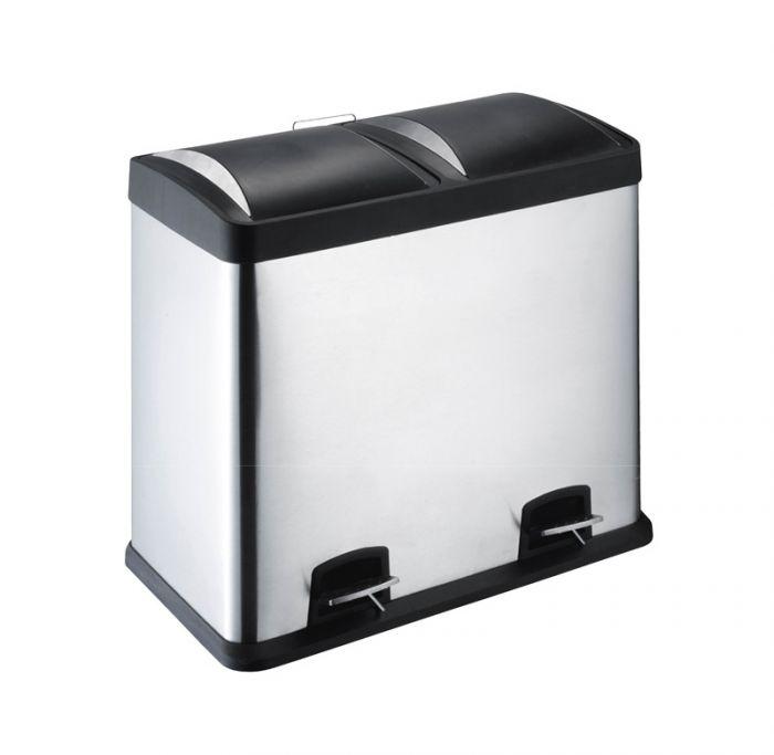 Cubo de basura 60l (30+30) acero inoxidable
