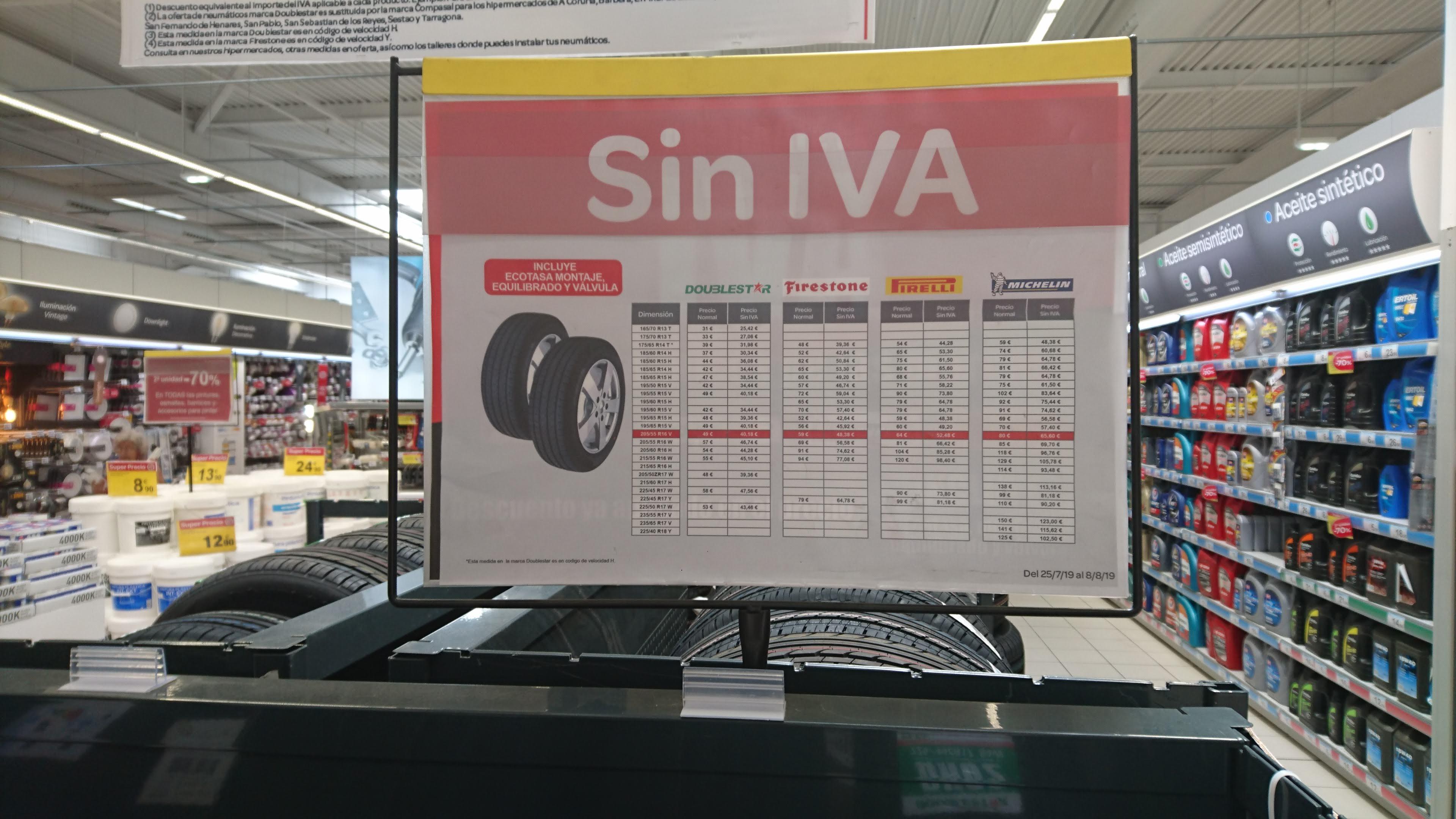 Neumáticos sin iva en carrefour con montaje, ecotasa, valvula y equilibrado gratis