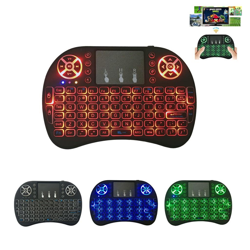 teclado 2.4G recargable inalámbrico con touchpad Air Mouse 3 colores de iluminación