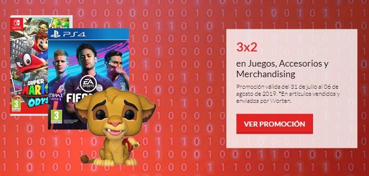3x2 en juegos y accesorios para Nintendo Switch y PS4 + Funkos