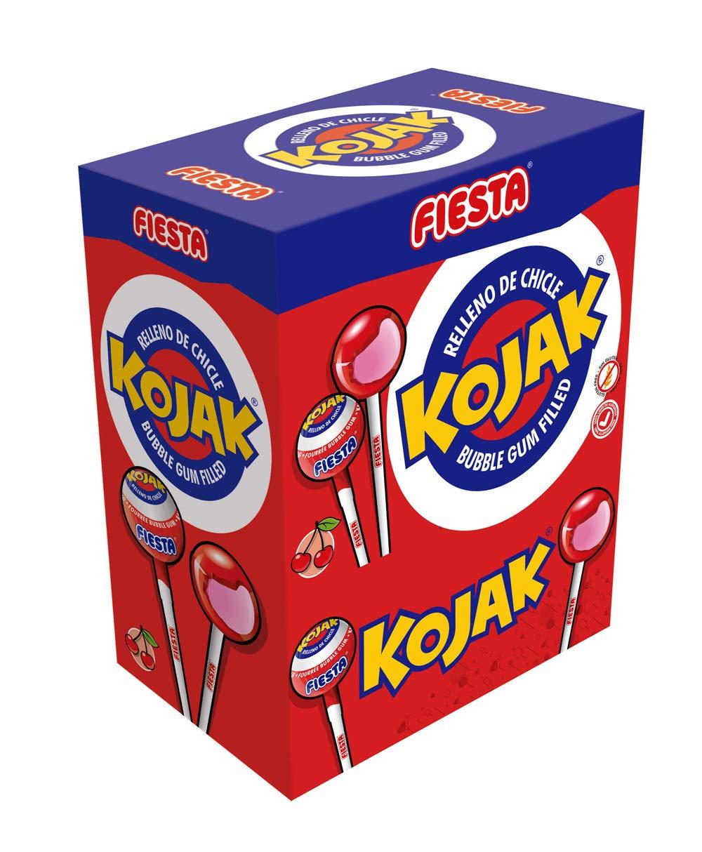 100 unidades de chupa chups rellenos de chicle Fiesta Kojak