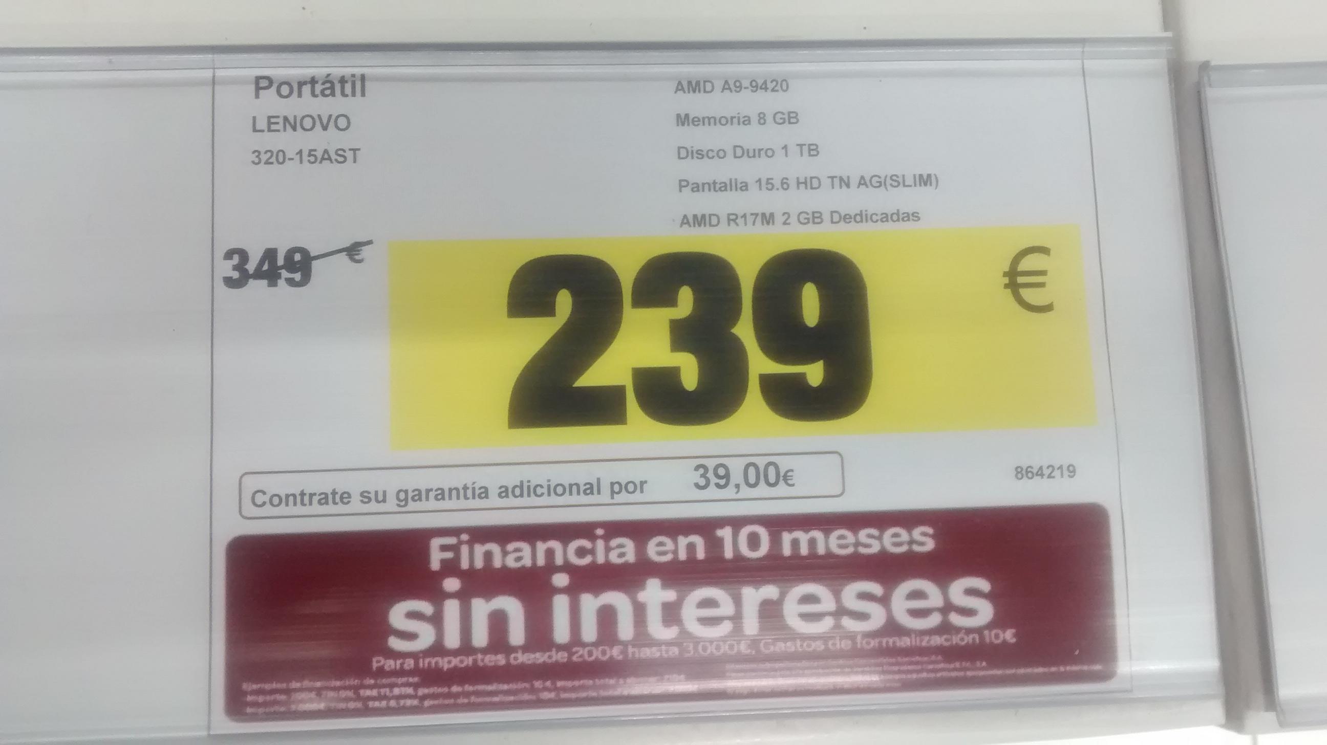 Ordenador Portatil Lenovo 320-15AST Carrefour Úbeda