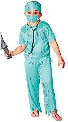 Disfraz reacondicionado de cirujan@ zombie (10-12 años)
