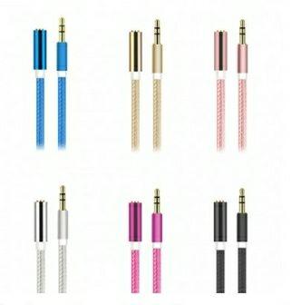 Cable de audio hembra de 3.5m trenzado macho a 3.5 mm - Color aleatorio