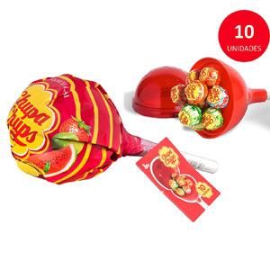 MegaChups, contiene 10 caramelos con palo de diferentes sabores