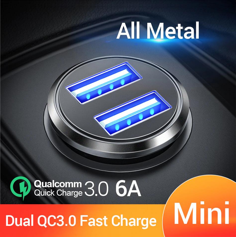Cargador de coche FIVI Dual QC 3,0 USB carga rápida