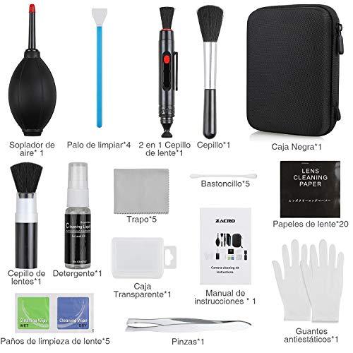 Zacro 49 en 1 Kits Limpieza Cámara Reflex Profesional Cámaras Réflex y Lente Optica Cámaras DSLR Rebel EOS,Olympus,Sony Alpha NEX,NX