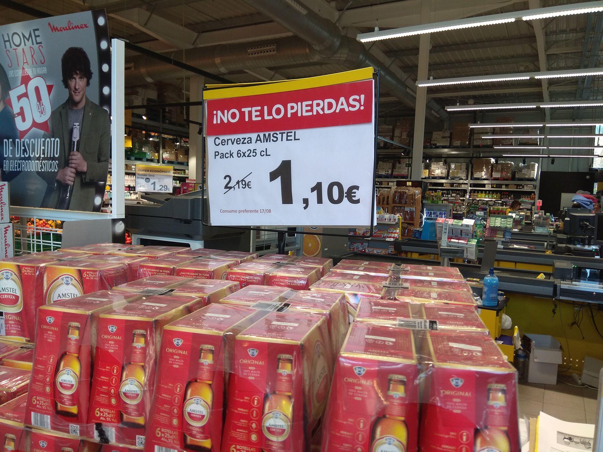 Cerveza Amstel. Pack 6 de 25 cl ( Supeco de Leganés)