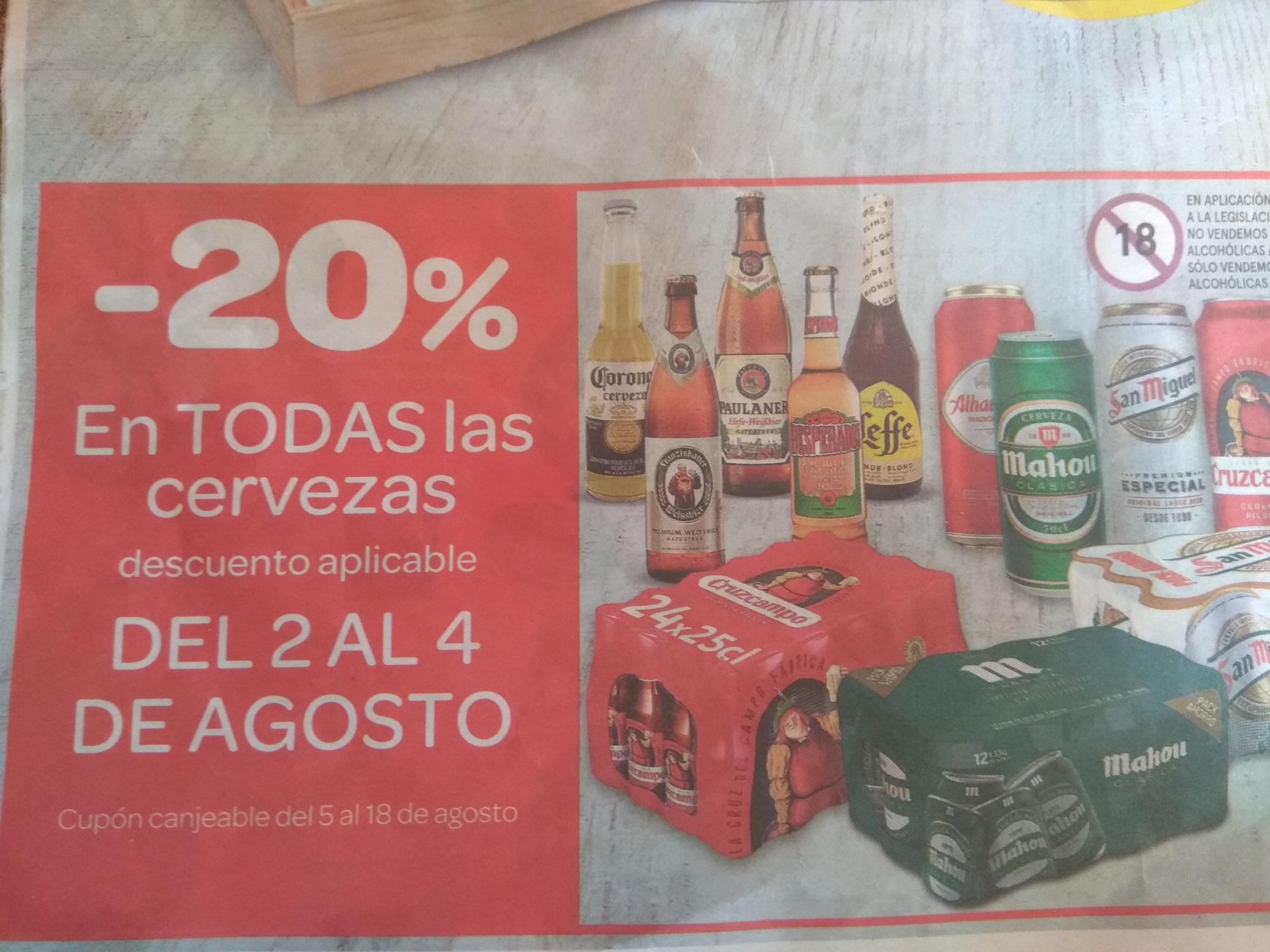 20% de descuento en todas las cervezas
