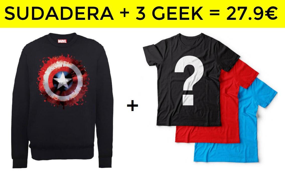 Pack sudadera + 3 camisetas Geek = 27.9€
