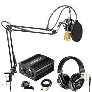Neewer NW-800 Pro Micrófono de Condensador(Negro/Oro) y Auriculares de Monitor