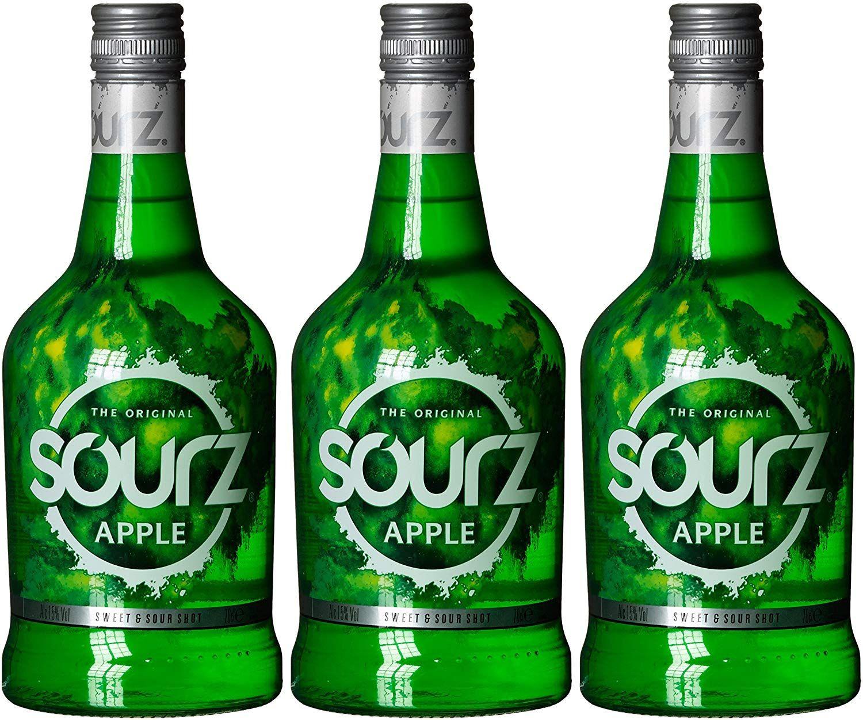 3 Botellas de Sourz Licor de manzana - Total: 2100 ml.