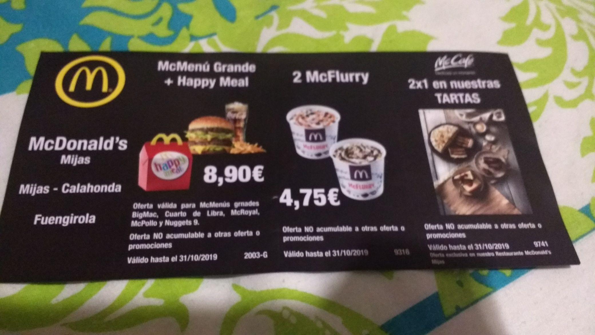 Cupones Descuento McDonald's En Fuengirola, Mijas y Calahonda (Málaga)