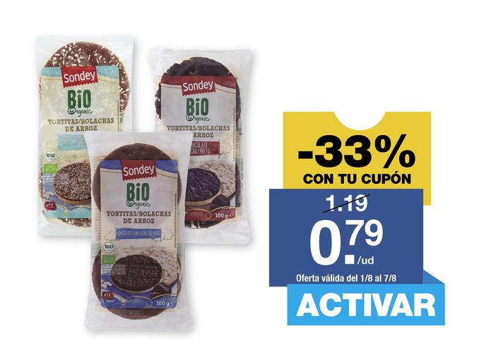 'Sondey®' Tortitas de arroz con chocolate ecológicas BIO -34%