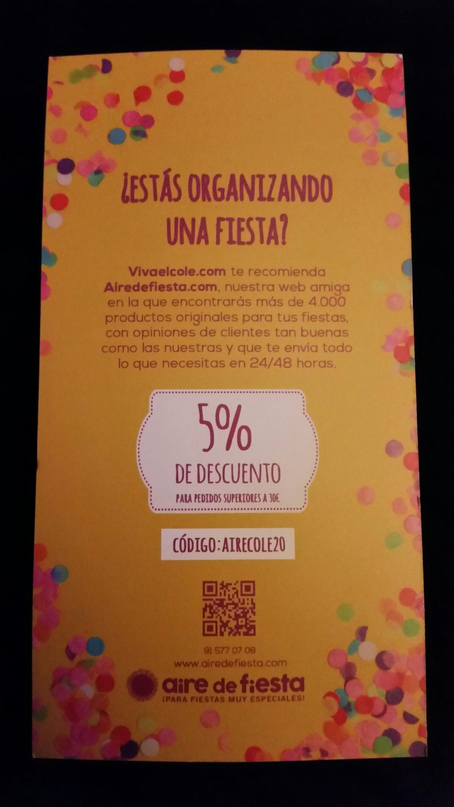 http://www.airedefiesta.com cupon de descuento de 5% en compras superiores a 30€