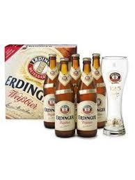 Pack 5 Cervezas alemanas ERDINGER WEISSBIER 50 cl + Vaso regalo