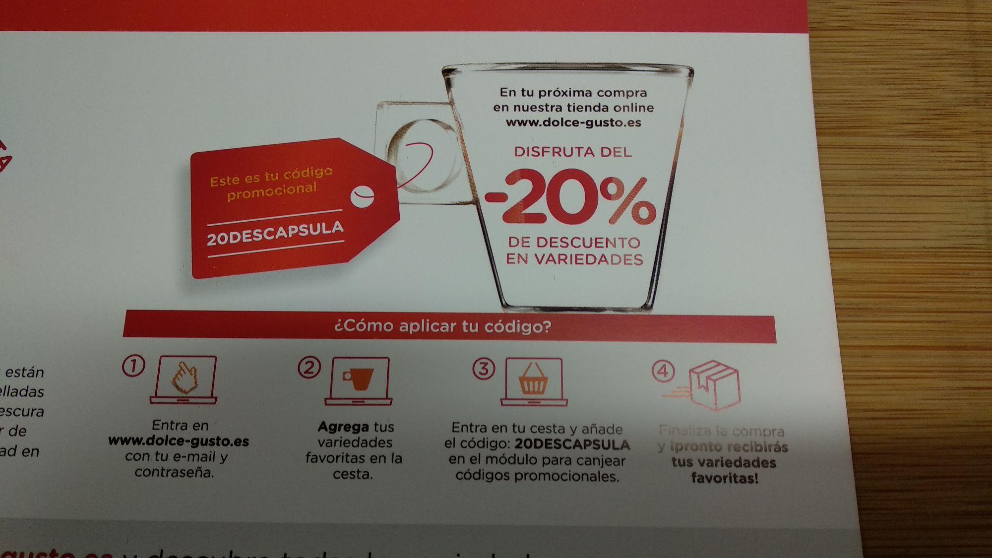 20% DESCUENTO CAPSULAS DOLCE-GUSTO