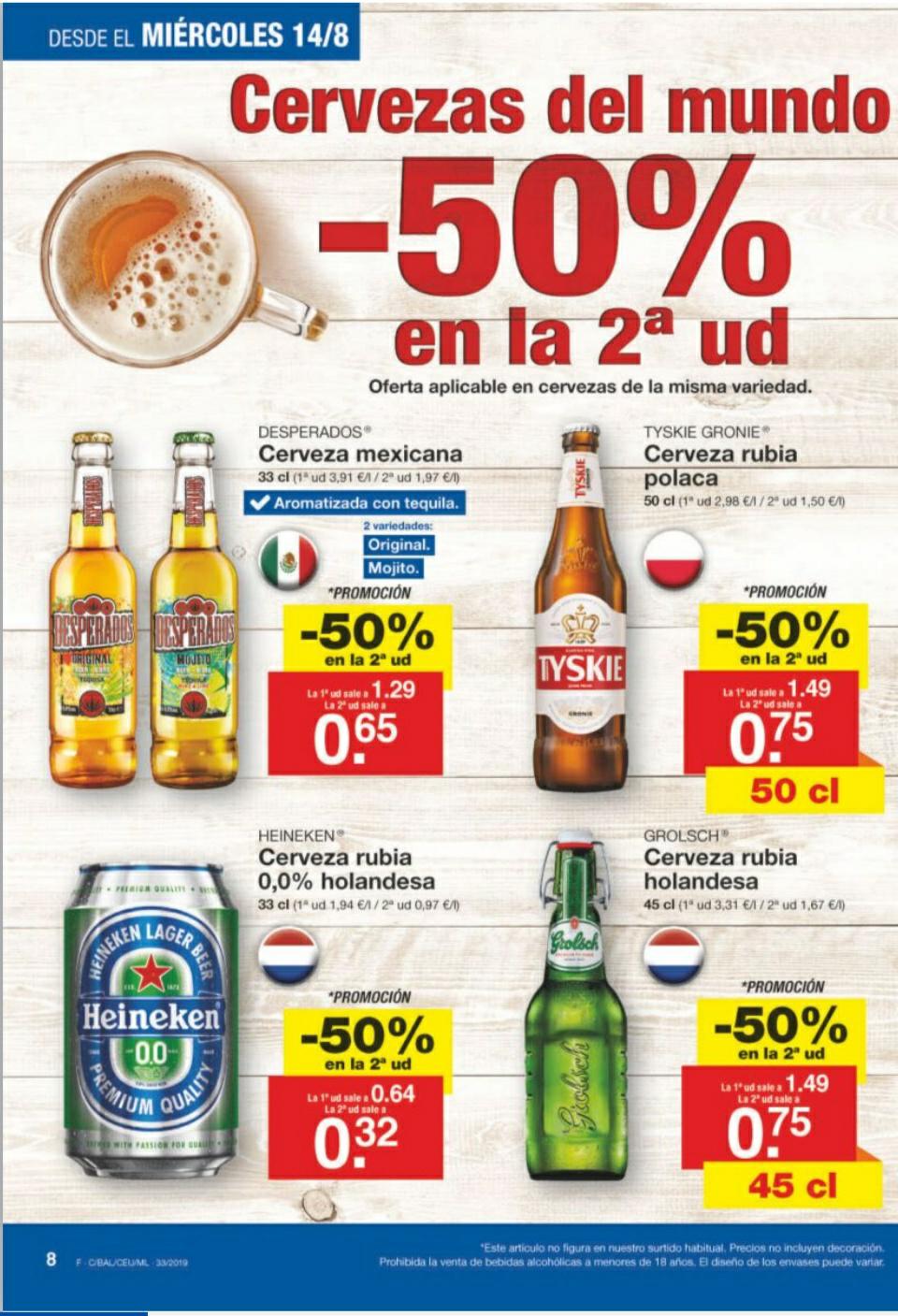 Lidl: Cervezas del mundo al 50% 2ª unidad
