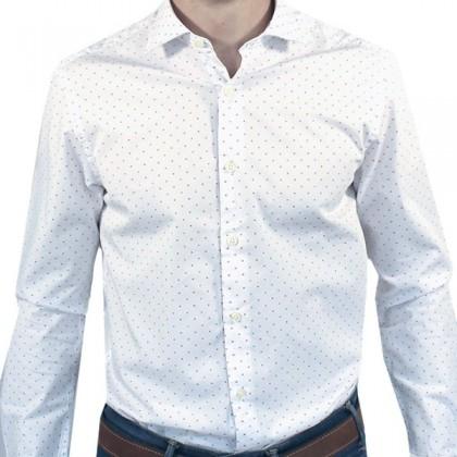 Camisa Blue Coast LS-16109 con cuadros blanca