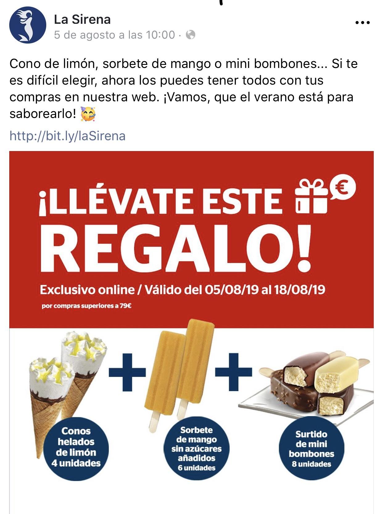 Muchos helados de regalo por compra de 79€ o más