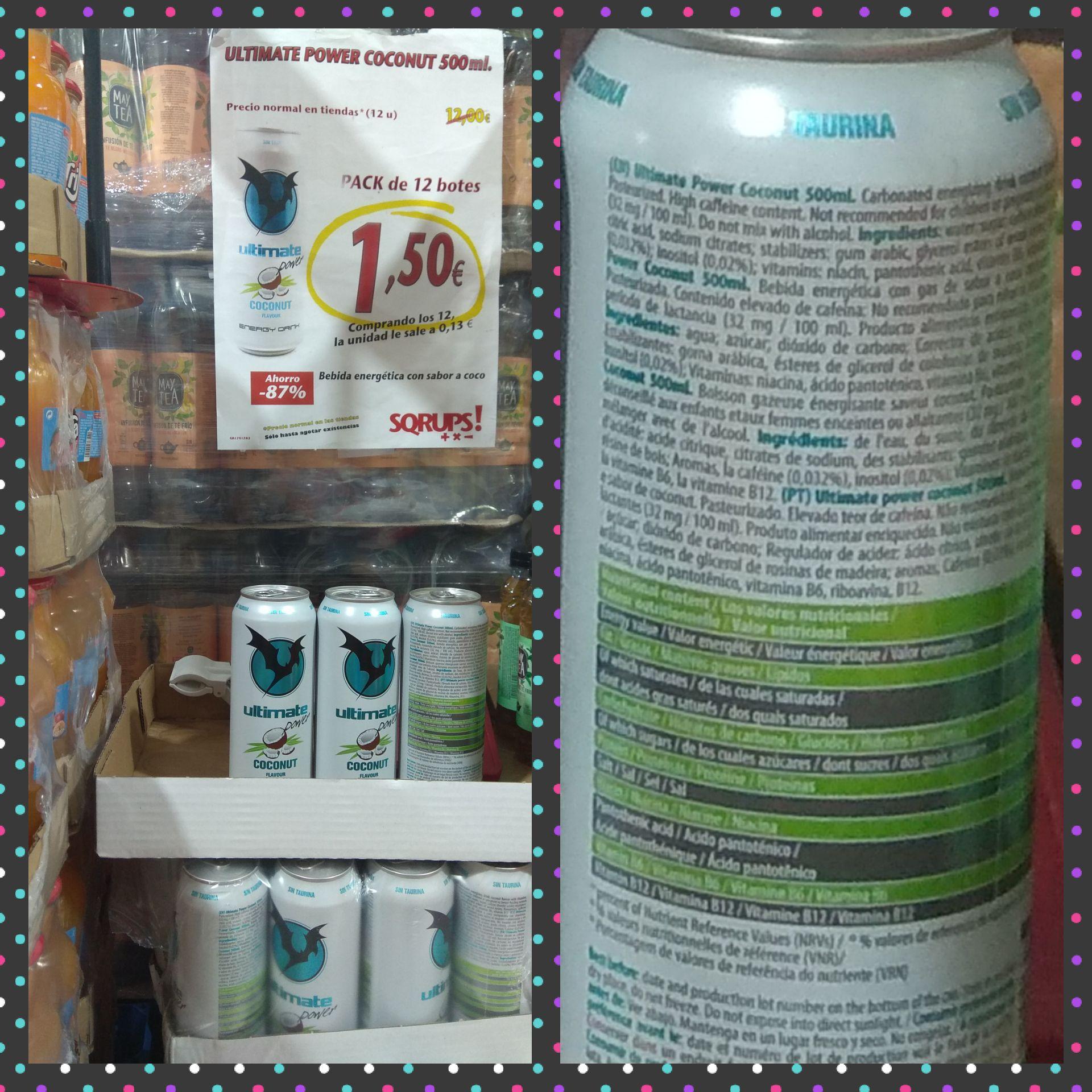 Bebida energética de coco 0'13€ unidad de 500 ml en Sqrups del Ensanche de Vallecas ( Madrid)