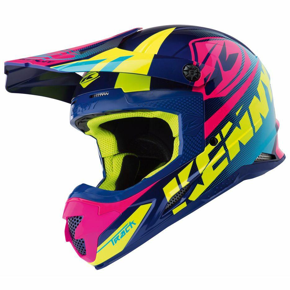 Casco de Motocross Kenny Track Azul y Rosa 2018