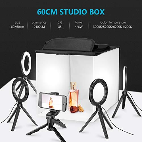Equipo Foto Estudio tipo caja con 4 anillos LED y soporte para móvil o cámara